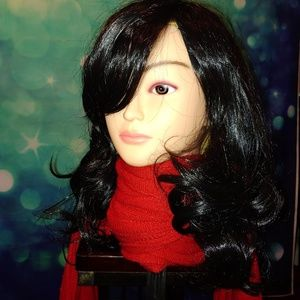 Long layered black wig with bangs C w 111